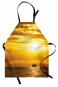 Gün Batımı Temalı Mutfak Önlüğü Deniz Gemi Turuncu