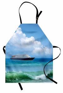 Deniz ve Gemi Desenli Mutfak Önlüğü Turkuaz Dalga Plaj
