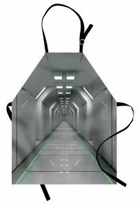 Uzay Temalı Mutfak Önlüğü Bilim Kurgu Beyaz Koridor