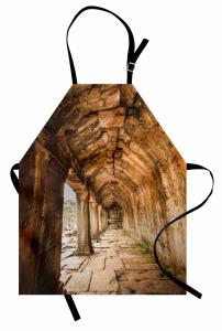 Tapınak Temalı Mutfak Önlüğü Kahverengi Antik Budist