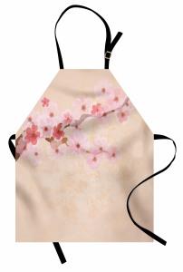 Kiraz Çiçekleri Desenli Mutfak Önlüğü Pembe Çeyizlik