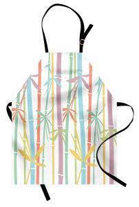 Rengarenk Bambu Desenli Mutfak Önlüğü Şık Tasarım Ağaç