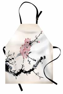 Çiçek Desenli Mutfak Önlüğü Bej Pembe Siyah Çeyizlik