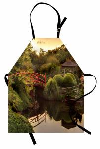 Japon Bahçesinde Gün Batımı Mutfak Önlüğü Göl