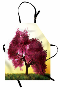Dekoratif Ağaç Desenli Mutfak Önlüğü Sarı Fonlu Doğa