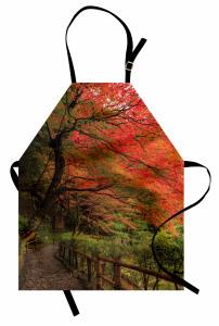 Turuncu Yapraklı Ağaç Mutfak Önlüğü Doğada Huzur