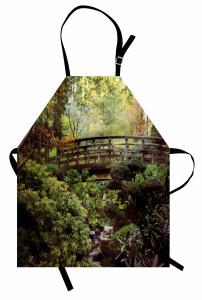 Ormandaki Ahşap Köprü Mutfak Önlüğü Yeşil Kahverengi