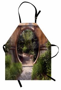 Ağaçlı Yol Mutfak Önlüğü Kahverengi Ahşap Kapı