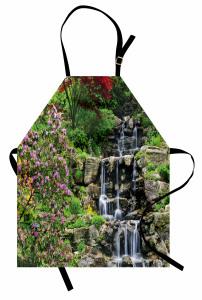 Çiçekler ve Çağlayan Mutfak Önlüğü Doğa Pembe Yeşil