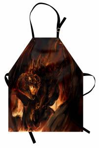 Kahverengi Ejderha Mutfak Önlüğü Fantastik Dekoratif