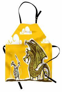 Şövalye ve Ejderha Desenli Mutfak Önlüğü Şövalye Ejderhaya Karşı