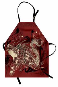 Kükreyen Ejderha Desenli Mutfak Önlüğü Japon Mitolojisi
