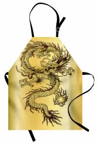 Altın Ejderha ve Güç Topu Mutfak Önlüğü Ejderha Fantastik Mitolojik