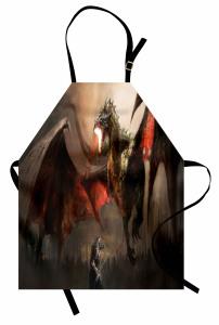 Uçan Ejderha Mutfak Önlüğü Kahverengi Fantastik