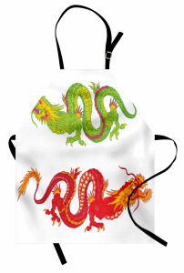 Kırmızı Yeşil Ejderha Mutfak Önlüğü Beyaz Fonlu