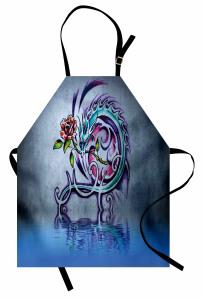 Ejderha ve Çiçek Mutfak Önlüğü Mor Mavi Nostaljik