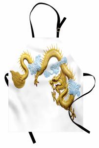 Sarı Ejderha Desenli Mutfak Önlüğü Şık Tasarım