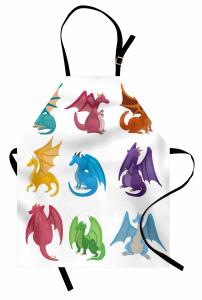 Rengarenk Ejderhalar Mutfak Önlüğü Beyaz Fantastik