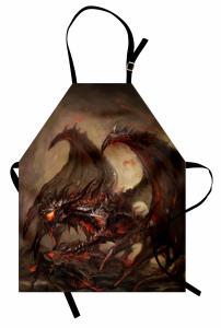 Ateş Saçan Ejderha Mutfak Önlüğü Fantastik Kahverengi