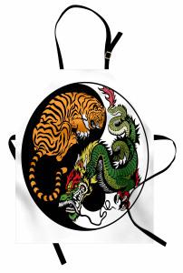 Kaplan ve Ejderha Mutfak Önlüğü Yin Yang Yeşil