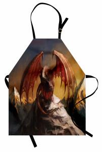Kanatlı Ejderha Mutfak Önlüğü Fantastik Kahverengi