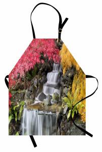 Şelale Desenli Mutfak Önlüğü Renkli Bahar Yaprakları