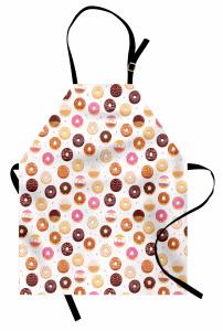 Donut Desenli Mutfak Önlüğü Donut ve Minik Kalp Desenli