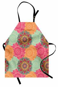 Renkli Mandala Desenli Mutfak Önlüğü Hint Süslemeleri