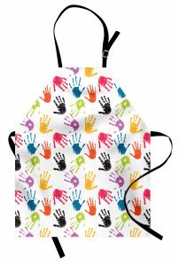 El İzi Desenli Mutfak Önlüğü Rengarenk El İzleri