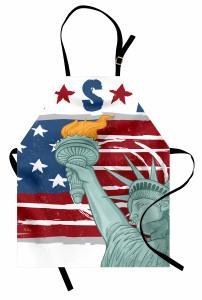 Özgürlük Anıtı Desenli Mutfak Önlüğü ABD Bayrağı Şık