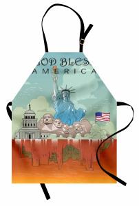 ABD Sembolleri Mutfak Önlüğü Turuncu Turkuaz