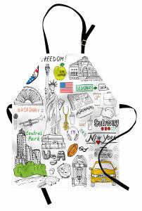 New York Sembolleri Mutfak Önlüğü ABD Dekoratif