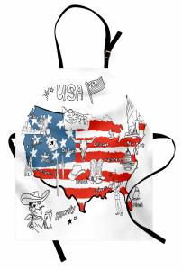 ABD Haritası Desenli Mutfak Önlüğü Kırmızı Mavi