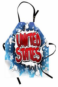 ABD Yazılı Grafiti Mutfak Önlüğü Kırmızı Mavi Sanat