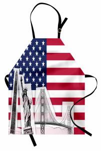 ABD Bayrağı Desenli Mutfak Önlüğü Özgürlük Anıtı