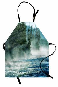 Vahşi Doğa Mutfak Önlüğü Nehir Ağaçlar Orman