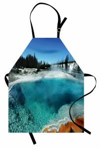 Doğada Kış Zamanı Mutfak Önlüğü Gölet Orman