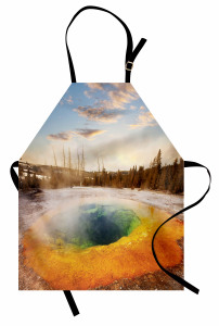 Volkanik Gölet Mutfak Önlüğü Büyüleyici Doğa