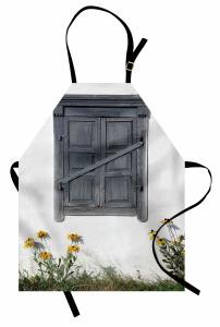 Gri Ahşap Pencere Mutfak Önlüğü Sarı Çiçek Dekoratif