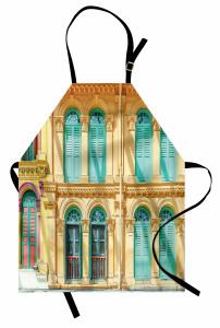 Yeşil Pencereli Ev Mutfak Önlüğü Şık Mimari Nostaljik