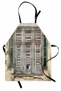 Gri Pencereli Ev Mutfak Önlüğü Şık Tasarım Ahşap