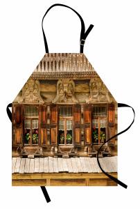 Çiçekli Ahşap Ev Mutfak Önlüğü Nostaljik Kahverengi