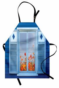 Çiçekli Mavi Pencere Mutfak Önlüğü Ahşap Dekoratif