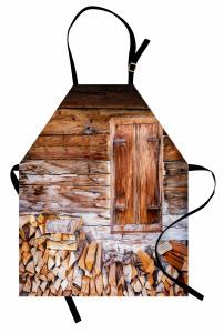 Ahşap Ev ve Odunlar Mutfak Önlüğü Nostaljik Mimari