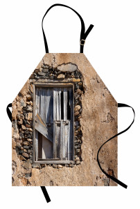 Gri Ahşap Pencere Mutfak Önlüğü Nostaljik Mimari