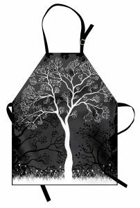 Sanatsal Ağaç Desenli Mutfak Önlüğü Ağaç İlkbahar Modern Sanatsal Siyah