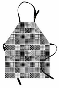 Ekoseli Yama Kolajı Mutfak Önlüğü Retro Stil Ekoseli Yama Kolajı