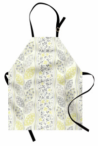 Çiçek Desenli Retro Süslemeli Mutfak Önlüğü Retro Süslemeler Yeşil