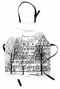 Eski Avrupa Şehri Desenli Mutfak Önlüğü Eski Avrupa Şehri Deseni
