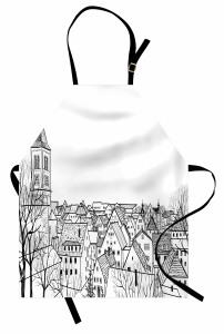 Çatı Katı Mutfak Önlüğü Avrupa Şehri Deseni